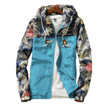 men Hooded Jackets Spring Casual Flowers Windbreaker Women Basic Jackets Coats Zipper Lightweight Jackets Bomber