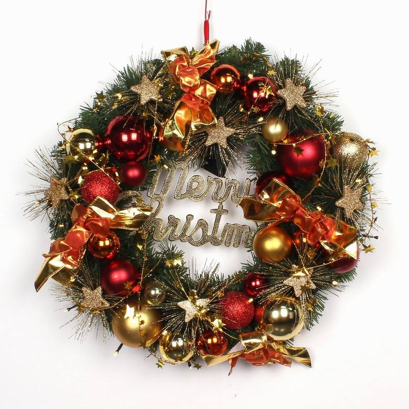 Xmas decoration artificial flower front door wreath with pine cone Christmas ornaments ball