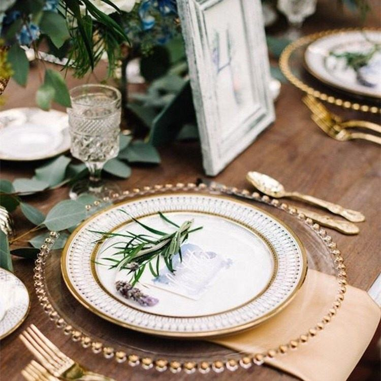 Creative Clear Gold glass plates cheap wholesale charger plate wedding glass plate