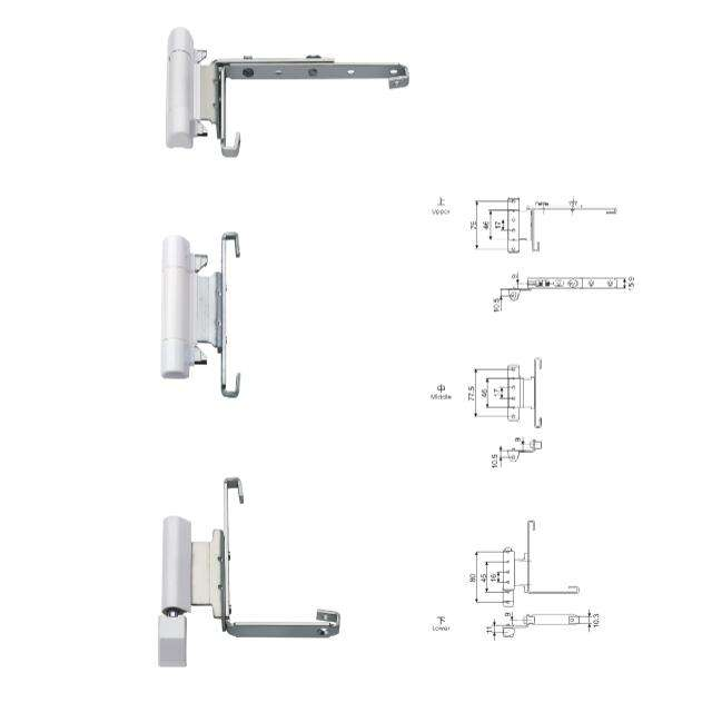 Aluminium Tilt and Turn Window Pivot Hinge with Accessories Plated White 9 Series