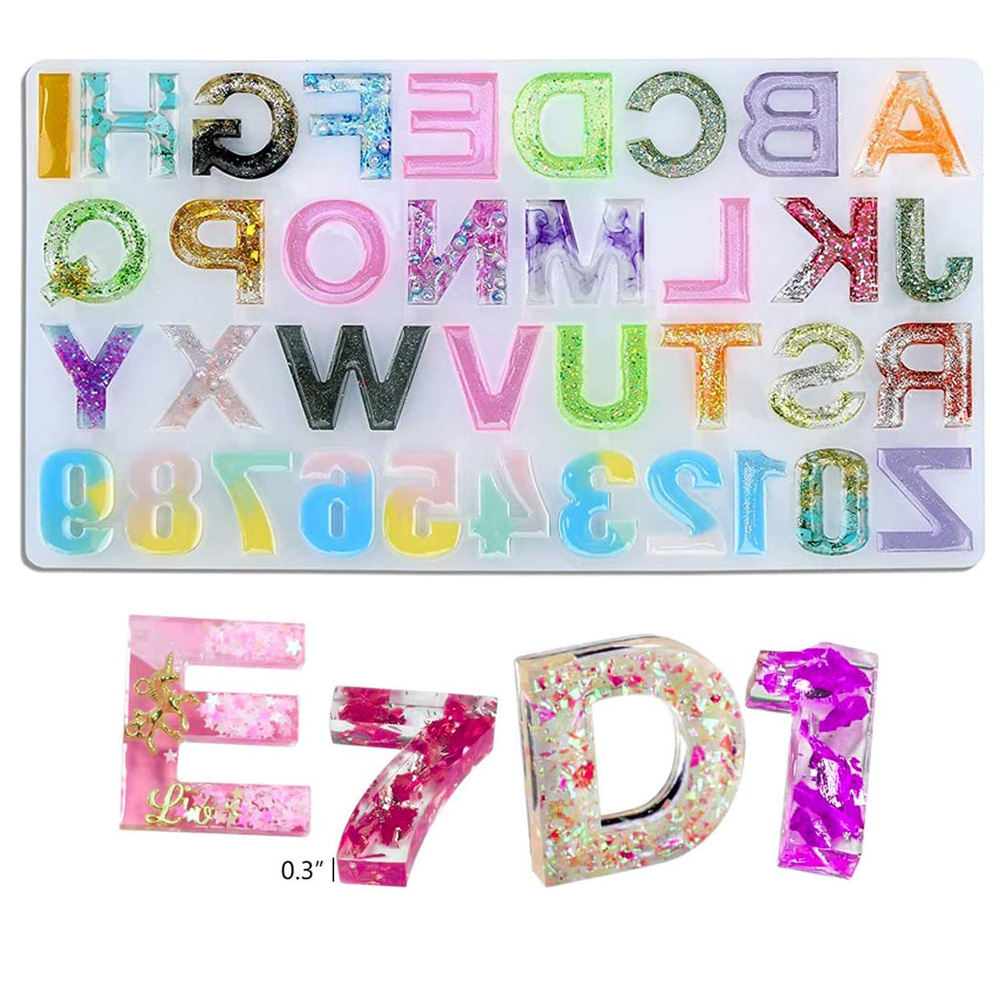 DIY Extra Large Letter Alphabet Number Mold Silicone Molds Resin Casting Molde Para Resina