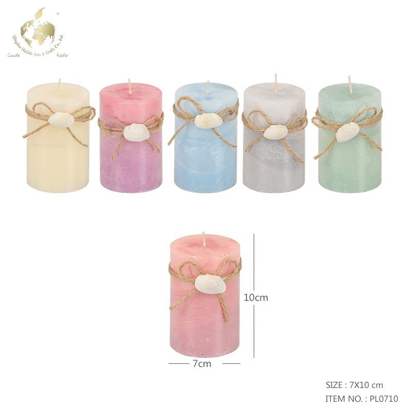 3 Layer Colors Pillar Candle With Shell Decoration Handmade Home Decoration