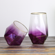 Bar gold rim drinking wine glasses purple stemless glass