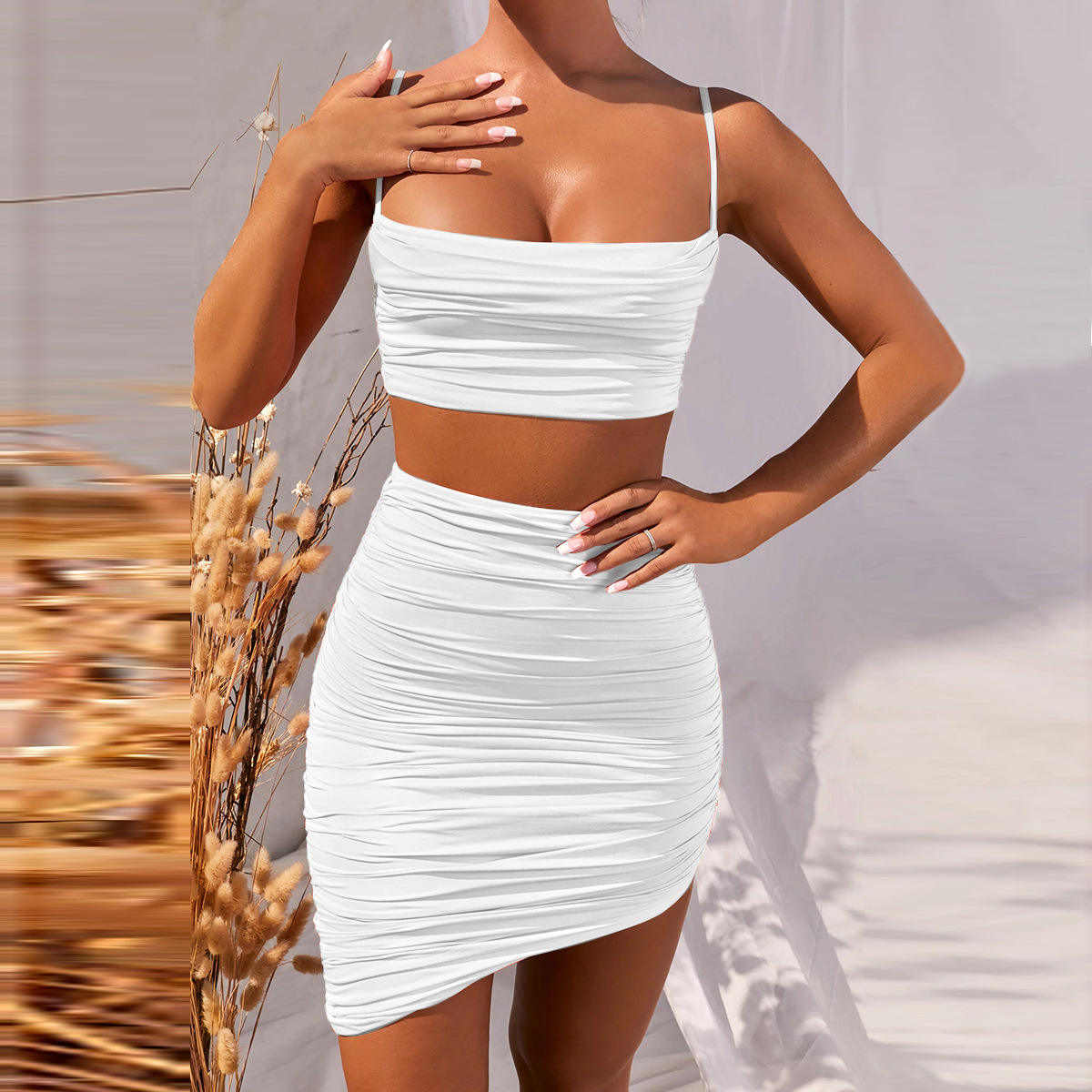 2020 new women's clothing Women's Boho Casual Party Beach dress Amazon eBay hot selling sexy dress Women Pleated two-piece dress
