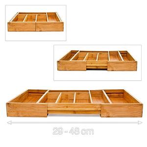 Expandable Large Wooden Bamboo Cutlery Tray Storage Drawers Organizer