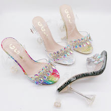 Top Quality High Heeled Sandals Clear Strap PVC Wholesale Stiletto High Heels Fashion Heeled Shoes