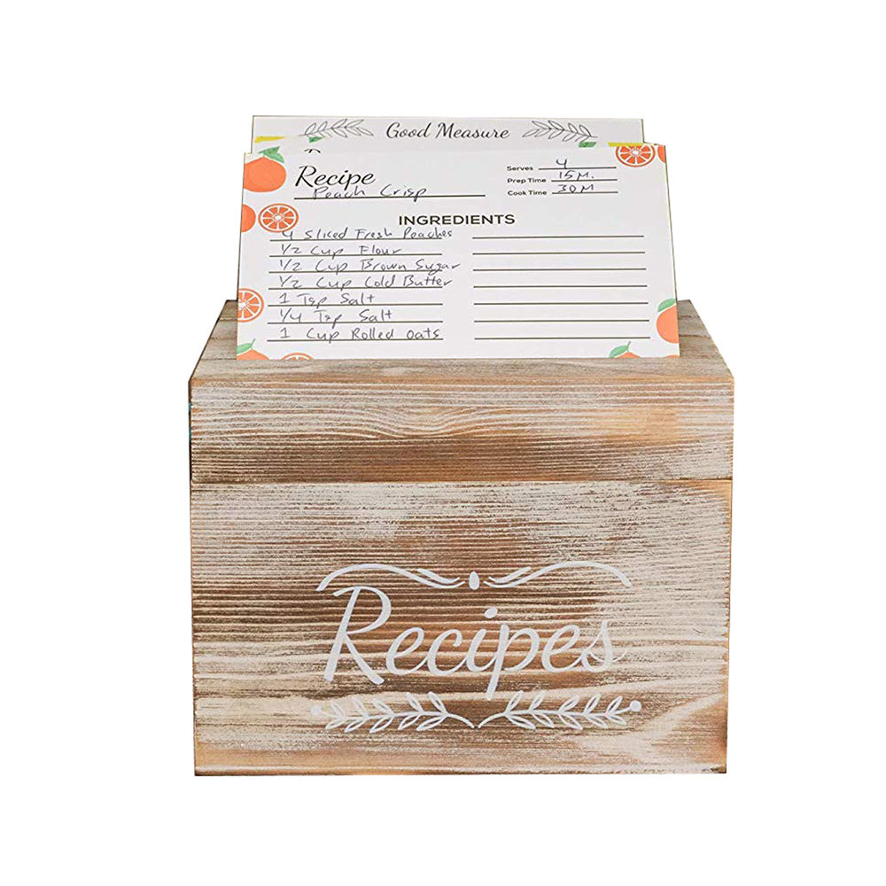 FSC Custom Wooden Recipe Box with 76 Blank Cards Rustic Pine Wood Recipe Card Box For Kitchen Wedding Bridal Shower Gift Box