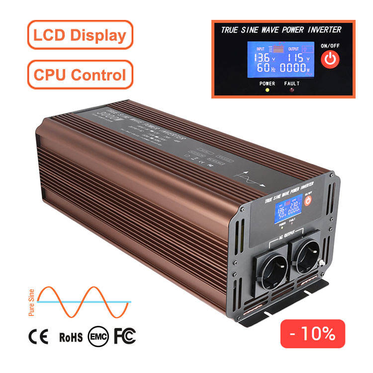 3000W 12V 24V 48V 72 Volt DC 110V 220V AC US Reliable High Frequency With LCD Display Battery 50Hz 60Hz Pure Sine Wave Inverter