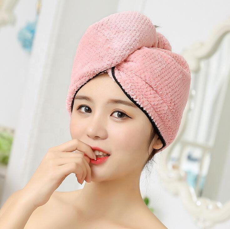 Manufacturer wholesale quickly dry microfiber hair turban wrap super water absorbent coral fleece dry hair towel