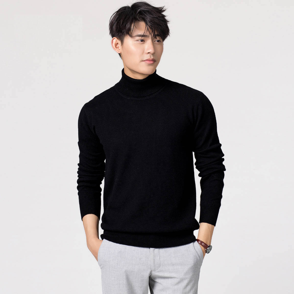 mens Turtleneck 100% cashmere sweater winter thickening large size pure cashmere knitted bottoming shirt