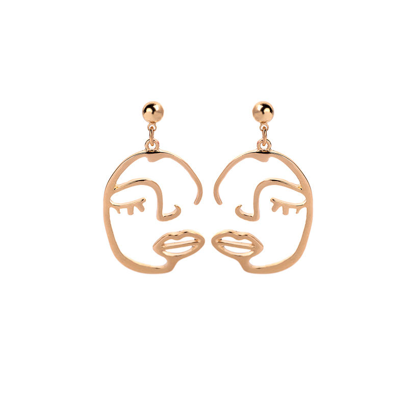 ed02050d Ins Style Fashion Wholesale New Arrival Low MOQ Women Gold Plated Dangle Hollow Face Facial Earrings for Women