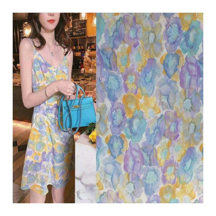 Best selling woman fashion dress digital printed customized 100% polyester 75D crepe chiffon fabric