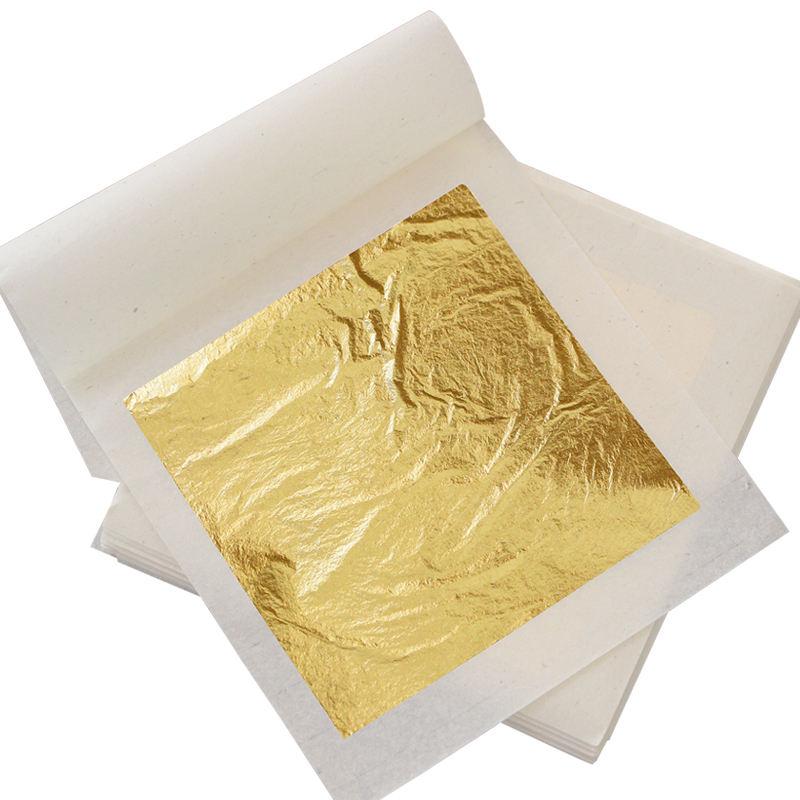 Prezzo basso 8X8 cm Bianco di Carta di Imballaggio Decor Cibo 92% Oro Commestibile 22 K Gold Leaf foglio di Fogli di Carta