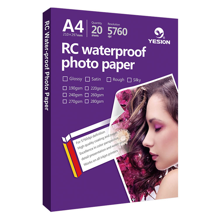 Yesion 260gsm RC <span class=keywords><strong>papel</strong></span> <span class=keywords><strong>fotográfico</strong></span> brilhante
