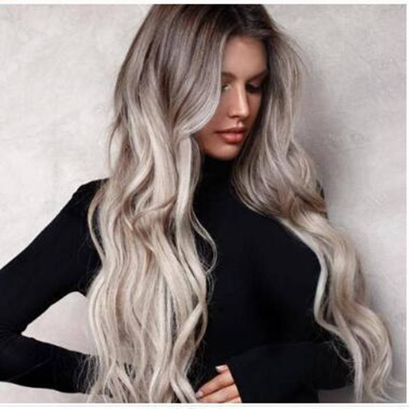 Hot Sale Grey 28 inches Long Curly Synthetics Wigs For Beauty Lady Cheap Factory Price wigs for black women with wholesale price