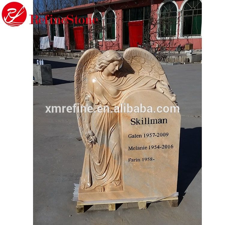 American Style Good Quality Angel yellow Headstone