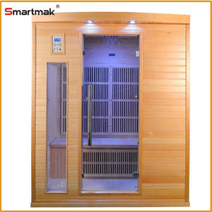 three person with china far infrared sauna and can control amazon sauna barrel
