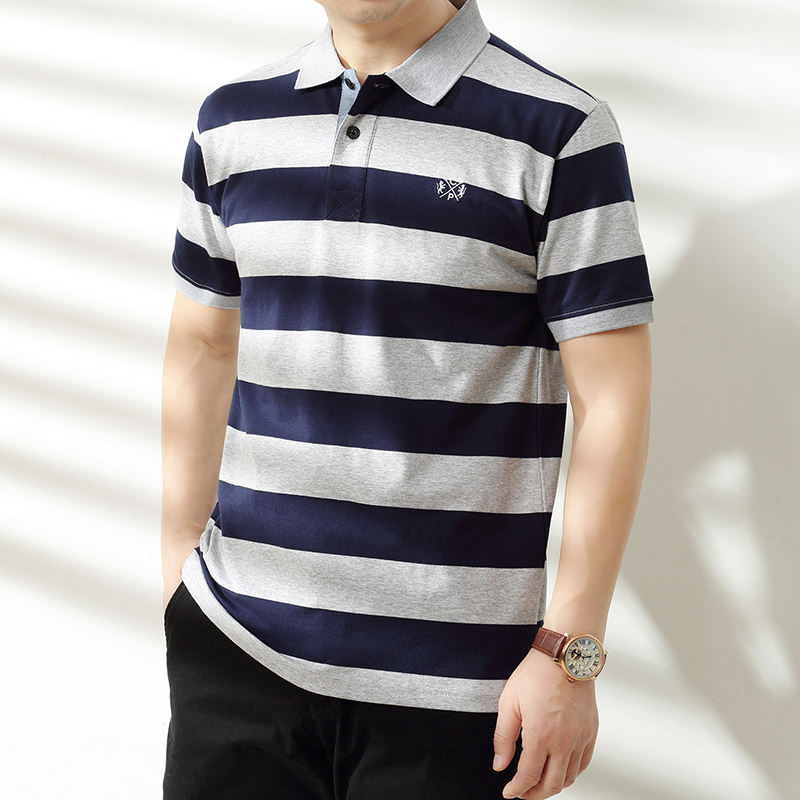 new design high quality 100 cotton striped men polo tshirt plus size up to 6XL stock promotional