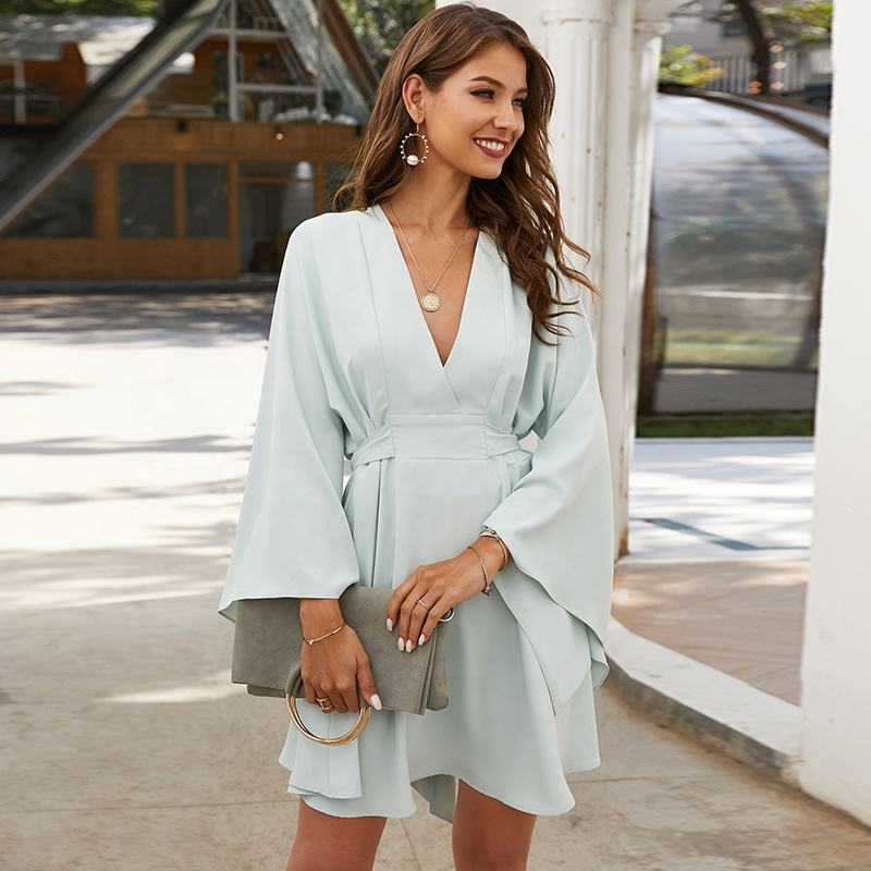 2020 Spring trendy clothing light green long big sleeves clothes women elegant lady party wear short dresses