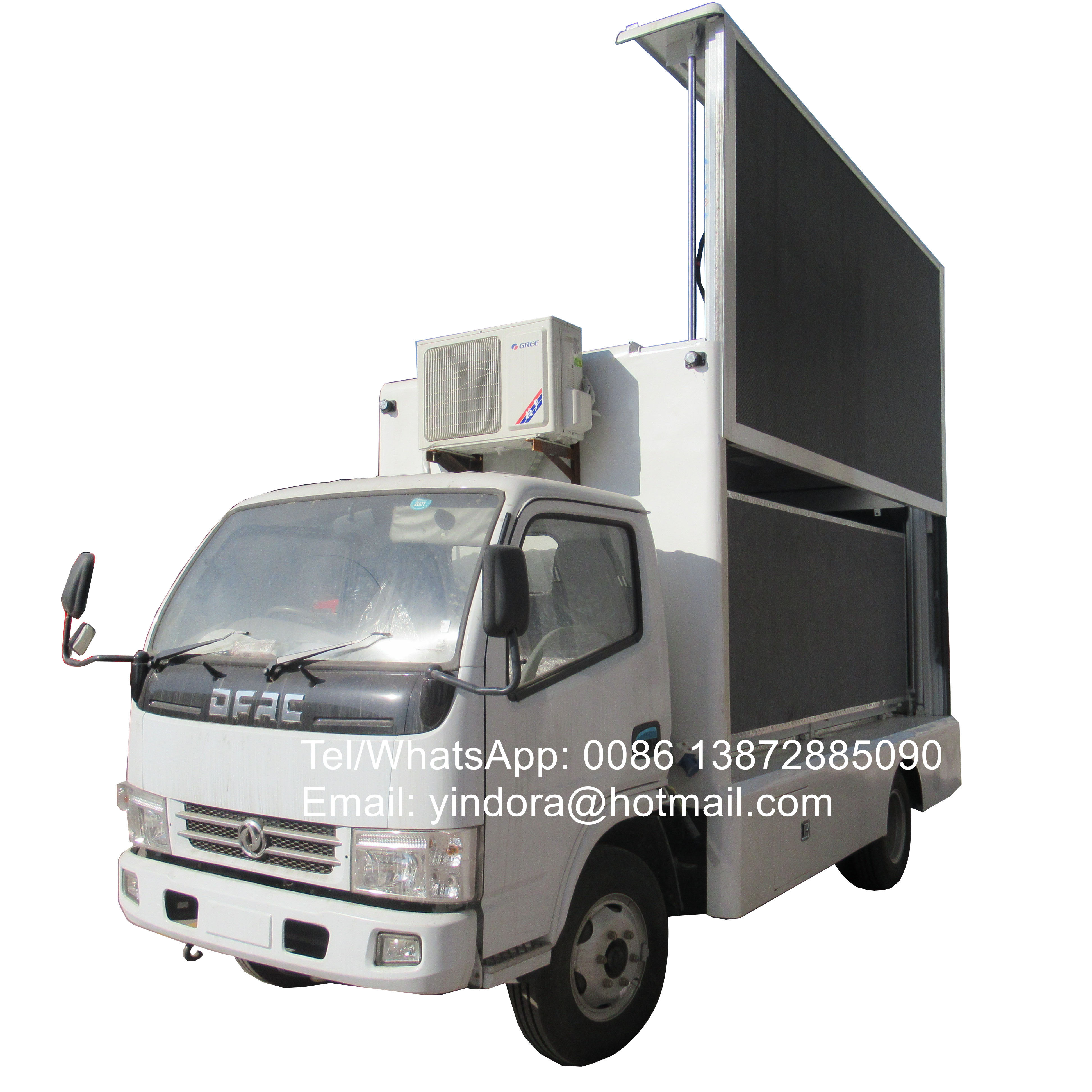 Computer control 3 sides billboard p6 screen dongfeng mobile mini led stage truck for outdoor events