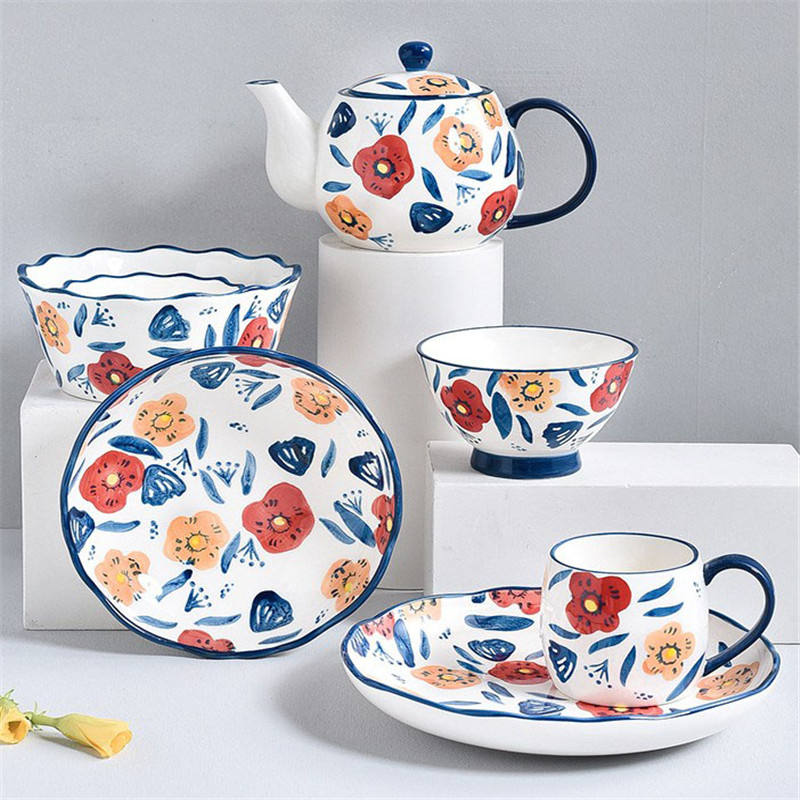AB Grade Durable Ceramic Cup Plate Sets Hand Printing Wholesale Dinnerware Sets Tableware
