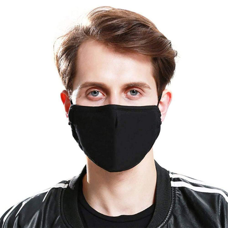 Custom Logo Print Black Adjustable Elastic Earloop Reusable Washable Safety Skin Care Breathable Cotton Face Mask With Filter
