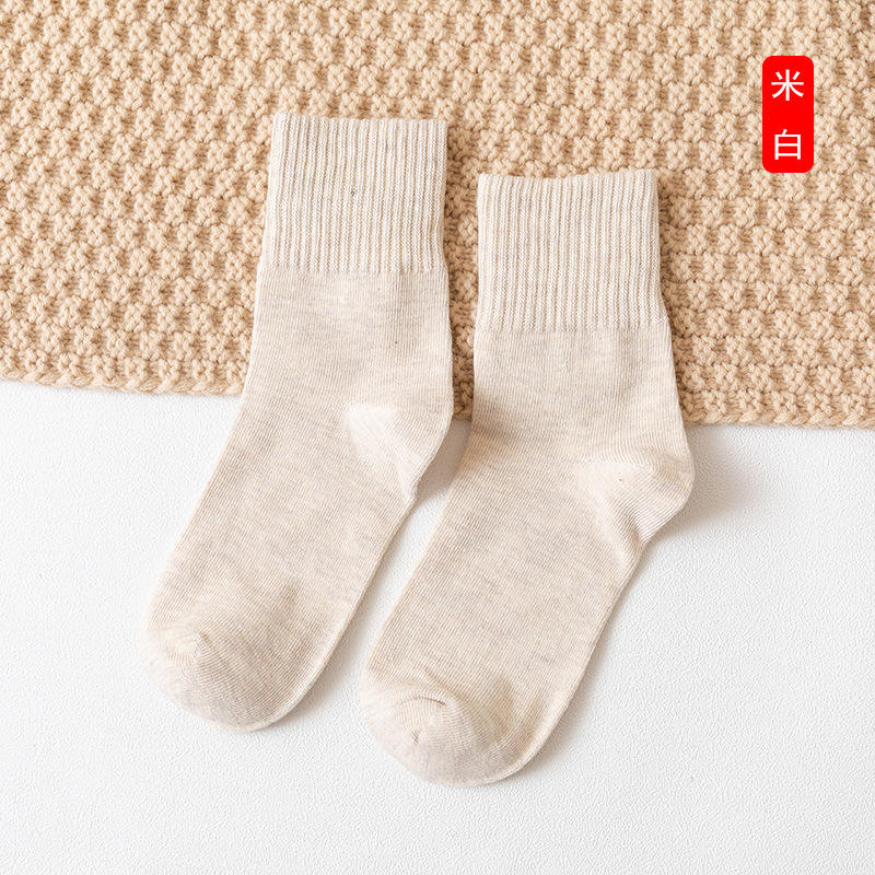 Manufacturers wholesale fashion leisure pure color ladies100% cotton socks breathable deodorization china socks factory direct