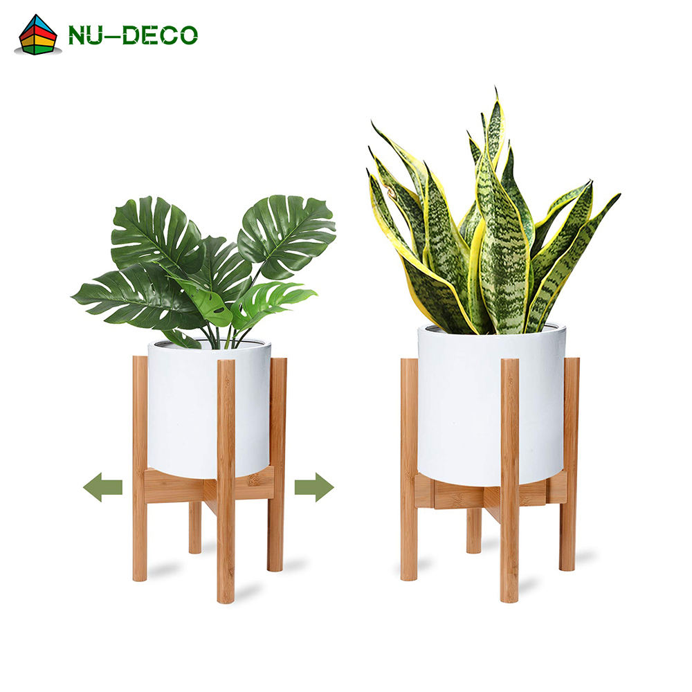 Eco friendly modern Mid Century adjustable indoor outdoor bamboo wood flower pot plant stand