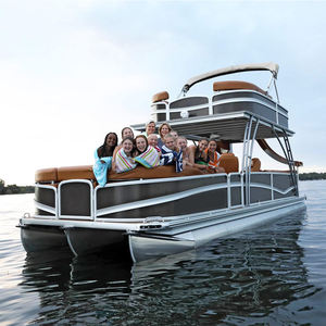 Best quality Luxury Leisure Sightseeing party barge tritoon pontoon boats for sale