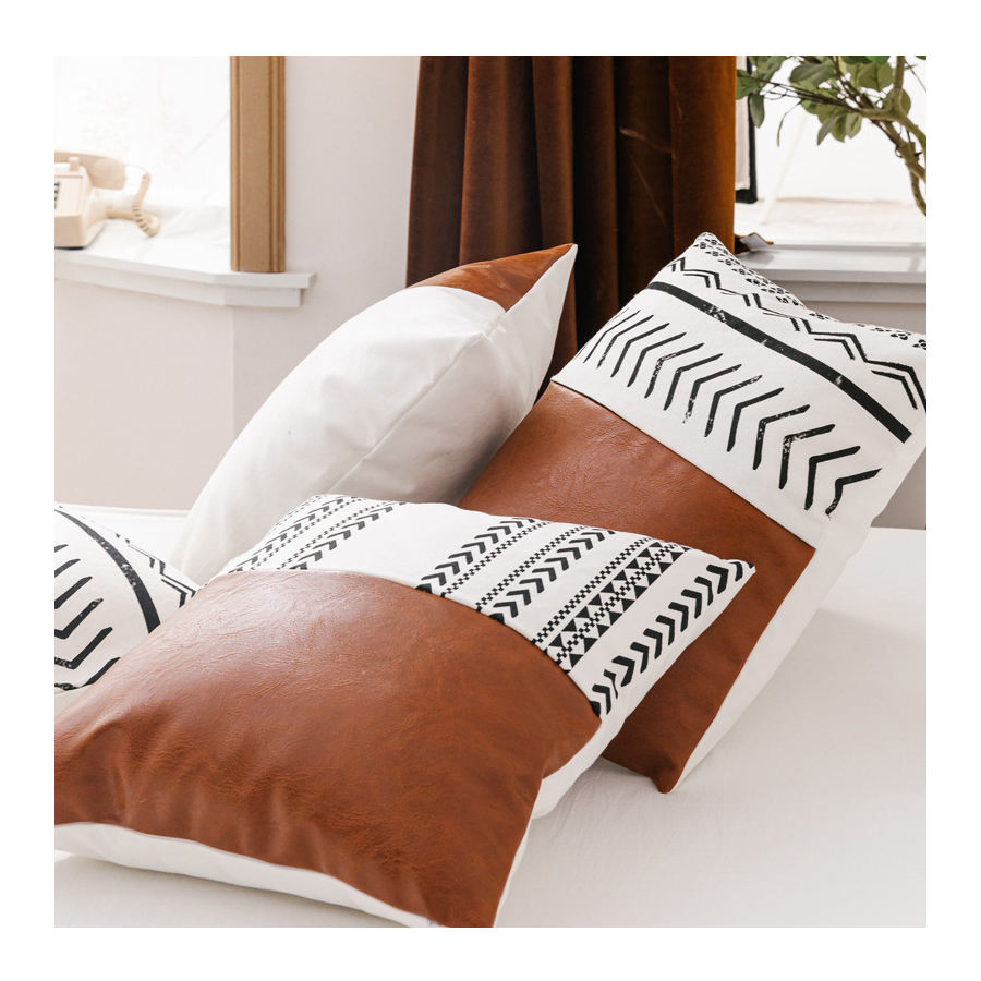 Real Leather Pillowcase, 100%Cotton Fabric And Leather Splice Pillow Covers New Styles/