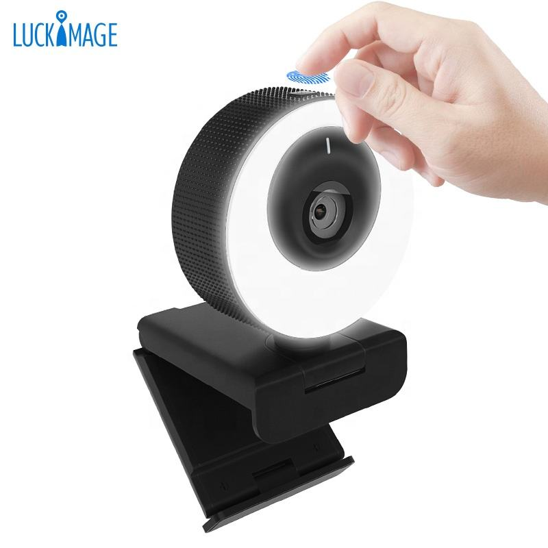 Luckimage Webcam Lampu Cincin 4K, Webcam Autofokus 1080P 60fps