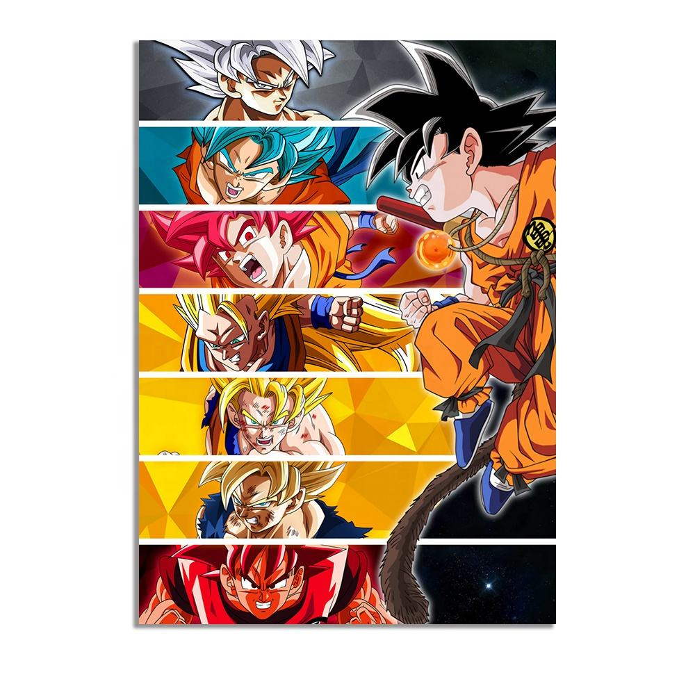 Dragon Ball Characters Poster Anime Collection Canvas Wall Art Paintings Dragon Ball Z Poster HD Wall Pictures for Home Decor