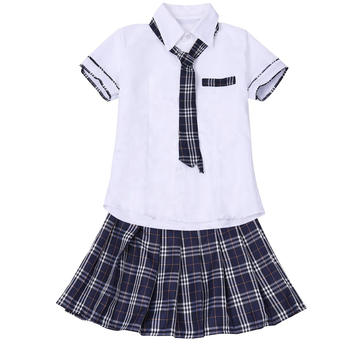 Vrouwen En Meisjes <span class=keywords><strong>School</strong></span> Uniformen Sexy Collage Student Sailor Party Cosplay <span class=keywords><strong>Kostuum</strong></span> Korte Mouw Shirt Met Plaid Rok Tie Set