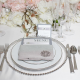 Clear crystal silver beaded wedding glass charger plates