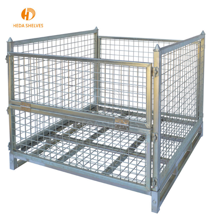 Guangdong supplier heavy duty collapsible steel metal storage pallet mesh cage