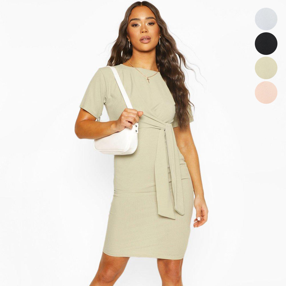 2020 new arrivals women clothing summer knit ribbed tie bodycon midi dress