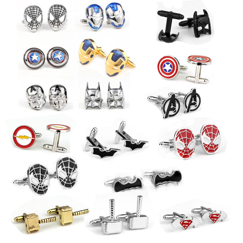 Batman Spiderman Iron Man กัปตันอเมริกา Thunder Avengers Superhero Cufflinks
