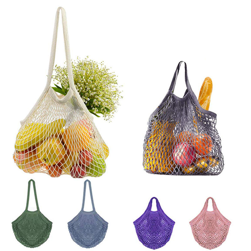 Cheap Reusable Foldable Large Grocery Cotton Net Mesh Shopping Tote Bag