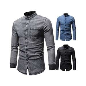 Brand 2020 Fashion Male Shirt Long-Sleeves Washed Jeans Shirts