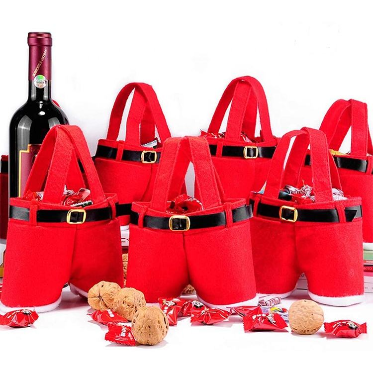 Christmas decoration handmade felt Christmas Presents Basket Candy tote bag Wine Bag