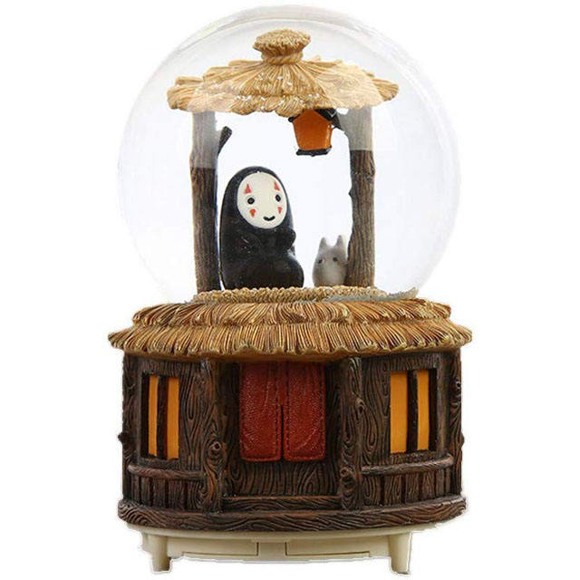 Personalized Snow Globes Music Box Crafts, Spirited Away Figures Sculptured Snowglobes Ghibli No Face Man Music Box Decor