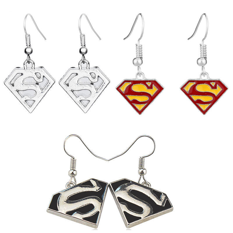 Fashion Avengers Superhero Anting-Anting Enamel Superman Anting-Anting Tubuh Perhiasan Fashion Anting-Anting
