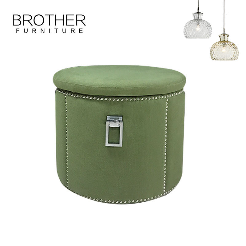 Living Room Big Round Foot Rest Green Velvet Storage Ottoman Pouf Stool
