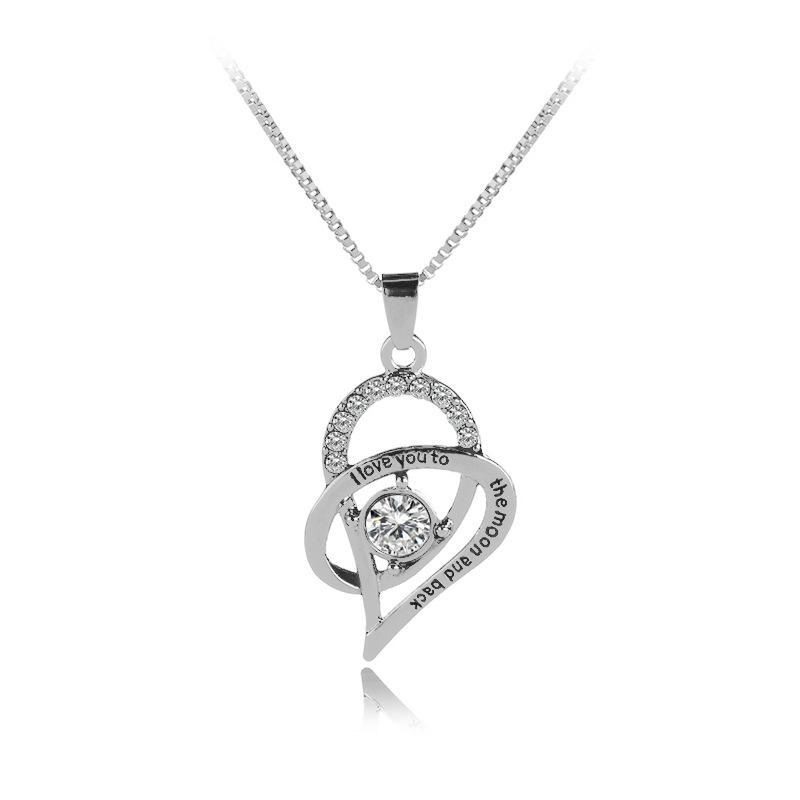 Q683 Jewelry Sterling Silver I Love You to The Moon and Back Love Heart Cubic Zirconia Pendant Necklaces