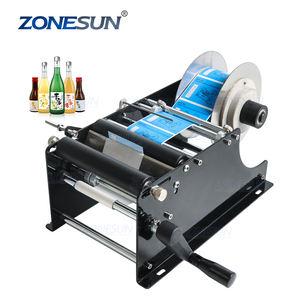 ZONESUN Simple And Fast Drum Handheld Round Bottle Labeling Machine