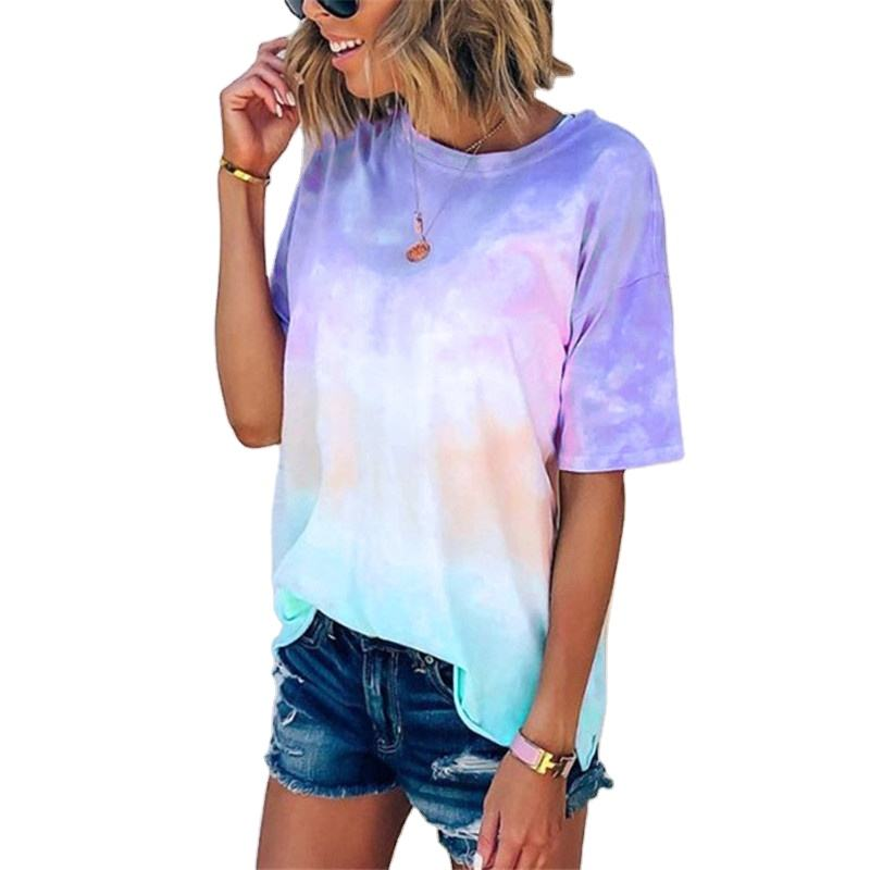 Hot Selling Summer Outfits Woman Clothes Tie-dye Shirt Tie Dye T Shirts For Women
