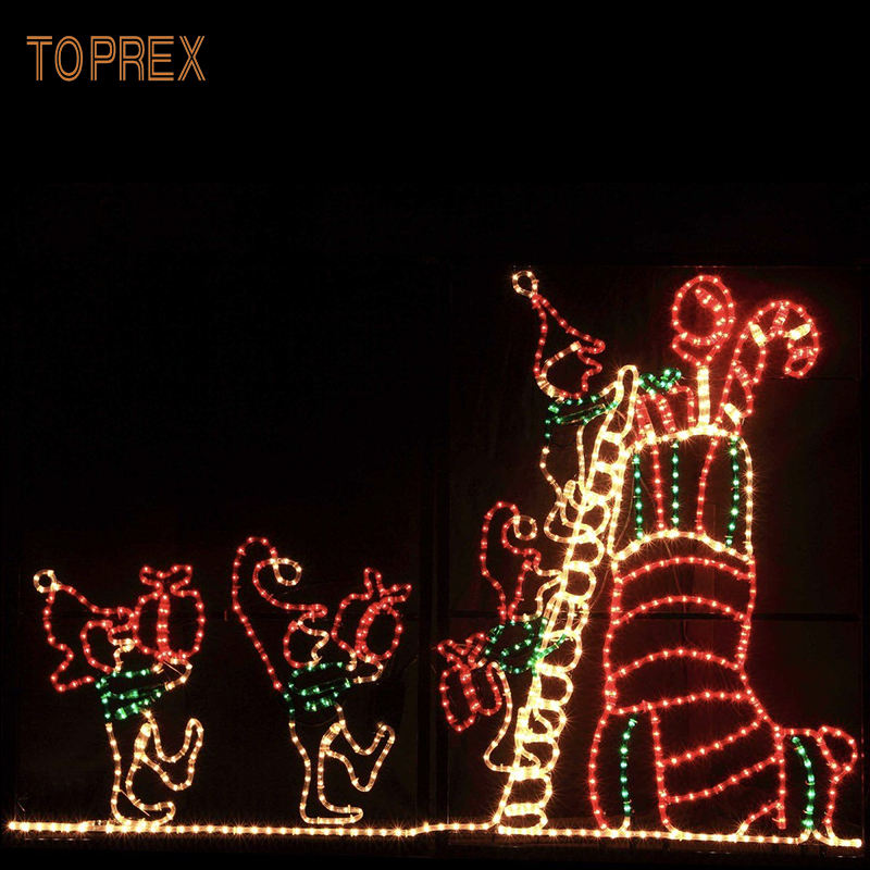 Toprex Led Light Up Xmas Motief Metalen Draad Frame Outdoor Kerstversiering Verlichte Elf