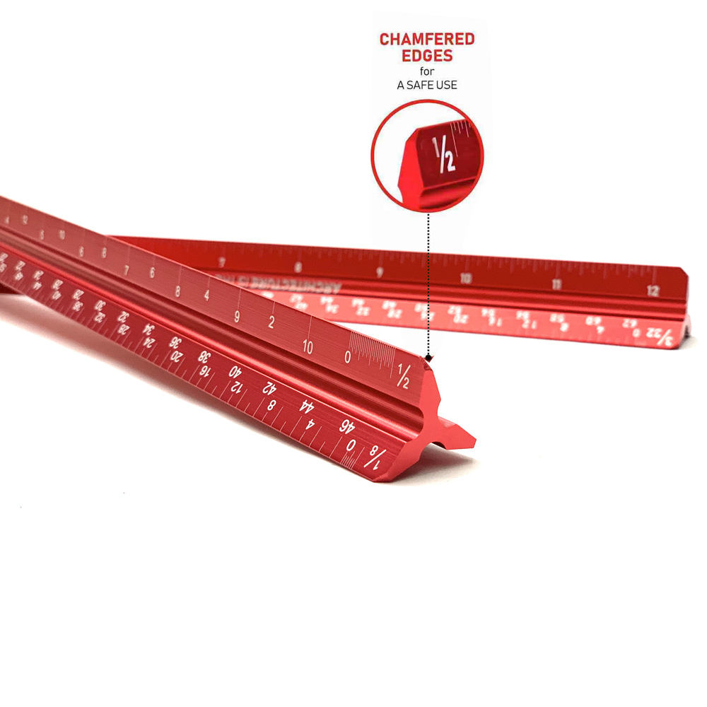 12 Inch Laser-Etched Imperial Engineering Triangular Architectural Scale Ruler With Chamfered Edges Steel Ruler