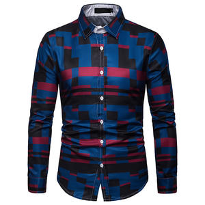 Free Shipping New Plaid Casual Business Long Sleeve Tops Men's Shirts