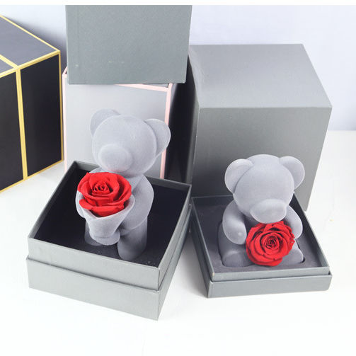 New Products Teddy Bear with Preserved Fresh Eternal Rose Flower Gift Box